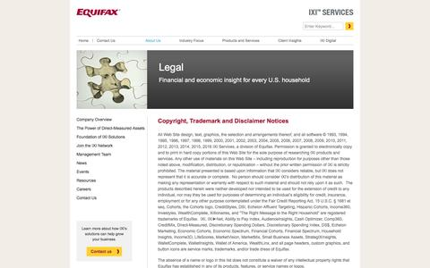 Screenshot of Terms Page ixicorp.com - Legal Â« IXI Services, a division of Equifax - captured Sept. 13, 2016