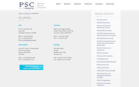 Screenshot of Locations Page paysw.com - Payment and Security Experts    Locations    PSC - captured Sept. 27, 2018
