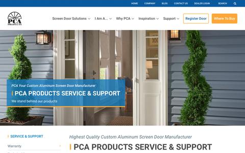 Screenshot of Support Page pcaproducts.com - PCA Aluminum Screen Doors - Screen Door Company -… | PCA Products - captured July 14, 2018