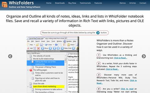 Screenshot of Home Page whizfolders.com - Note Taking Software and Outliner - WhizFolders - captured Nov. 2, 2018