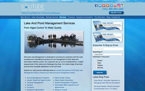 Screenshot of Services Page solitudelakemanagement.com - Full-Service Lake Management Solutions For Ponds, Lakes And Fisheries - captured July 26, 2018