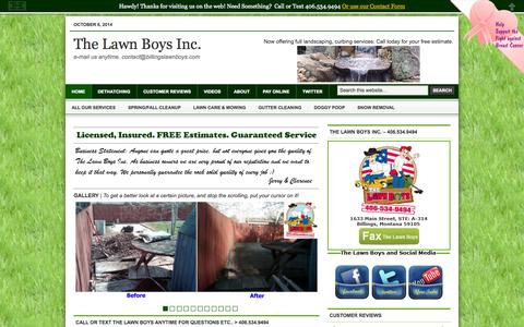 Screenshot of Home Page billingslawnboys.com - Billings Montana Lawn Company.  406-534-9494 - captured Oct. 7, 2014
