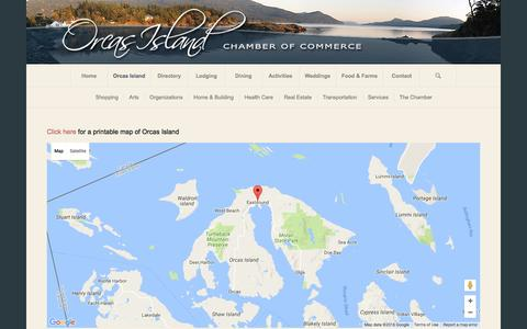 Screenshot of Maps & Directions Page orcasislandchamber.com - Orcas Island Chamber of Commerce |   Maps of Orcas Island - captured Sept. 3, 2016
