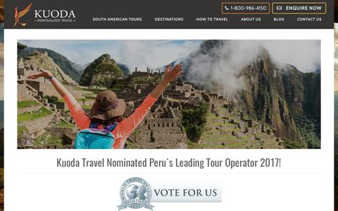 Screenshot of Press Page kuodatravel.com - Kuoda Travel Nominated Peru`s Leading Tour Operator 2017 - Luxury Travel to Peru, Galapagos & Bolivia - captured March 29, 2017