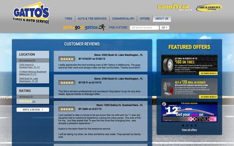 Screenshot of Testimonials Page gattos.com - Gatto's Tires & Auto Service | Customer Reviews & Testimonials - captured Jan. 26, 2016