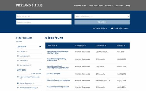 Screenshot of Jobs Page kirkland.com - Kirkland & Ellis - Human Resources  Careers - captured July 15, 2019