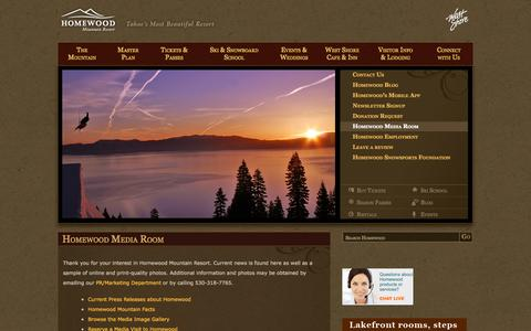 Screenshot of Press Page skihomewood.com - Homewood Media Room | Homewood Mountain Ski Resort - captured Oct. 1, 2014