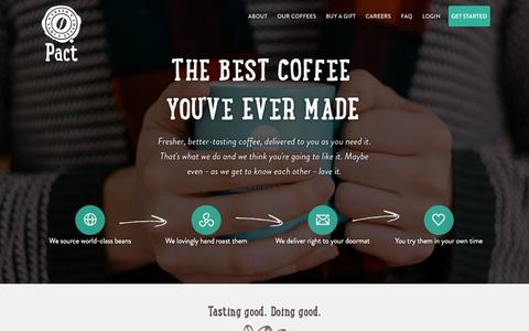Screenshot of Home Page pactcoffee.com - Pact | Delivering fresh, better tasting coffee - captured Dec. 2, 2015