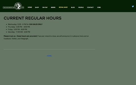 Screenshot of Hours Page treehousebrew.com - Hours — Tree House Brewing Co. - captured Feb. 22, 2016