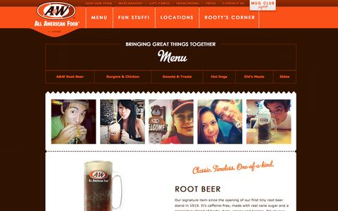 Screenshot of Menu Page awrestaurants.com - Main Menu | A&W® All American Food - captured Sept. 24, 2014