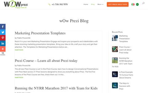 Screenshot of Blog wowprezi.com - Prezi Next Training and Design tips, tricks, courses and interviews. - captured May 8, 2018