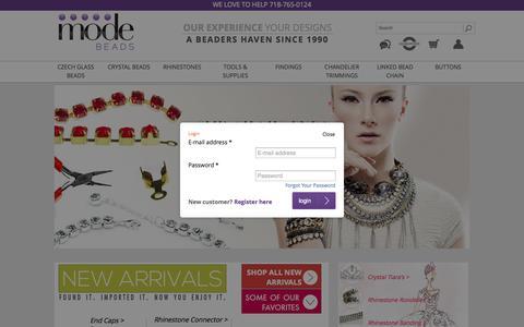 Screenshot of Login Page modebeads.com - Modebeads - Czech Glass Beads | Beading Supplies | Preciosa Crystals | Wholesale Beads - captured Sept. 19, 2014