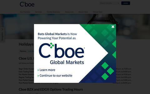 Screenshot of Hours Page cboe.com - Cboe | Hours - captured Oct. 18, 2017
