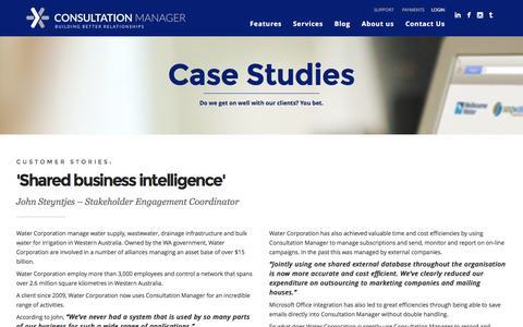 Screenshot of Case Studies Page consultationmanager.com - Case Studies | Consultation Manager - stakeholder management software - captured April 19, 2016