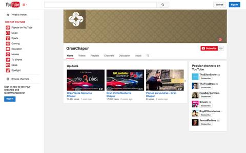 Screenshot of YouTube Page youtube.com - GranChapur  - YouTube - captured Oct. 26, 2014