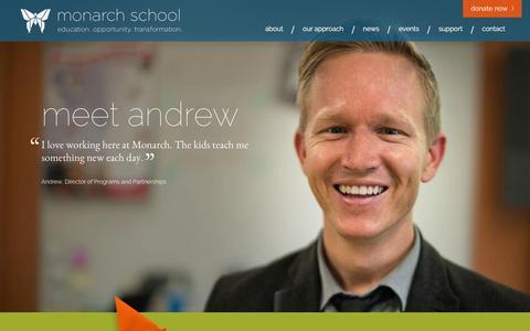 Screenshot of Home Page monarchschools.org - Home - Monarch Schools - captured Feb. 14, 2016