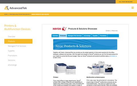Screenshot of Products Page advancedtek.com - Xerox Products & Services | Printers & Multifunction Devices | AdvancedTek - captured Dec. 8, 2017