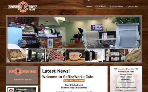 Screenshot of Home Page cwcafe.com - CoffeeWorks Cafe - Coffee Works Cafe, Blacksburg, VA - captured March 15, 2016