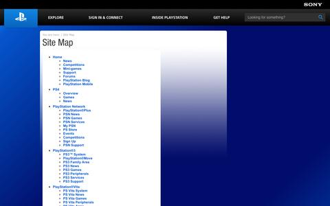 Screenshot of Site Map Page playstation.com - Official PlayStation Site Map - captured Sept. 19, 2014