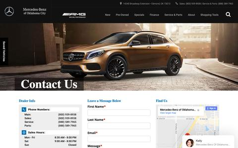 Screenshot of Contact Page mercedesbenzofokc.com - Contact Mercedes-Benz of Oklahoma City | 14240 Broadway Extension Edmond, OK 73013 | (800) 939-8938 - captured Nov. 15, 2018