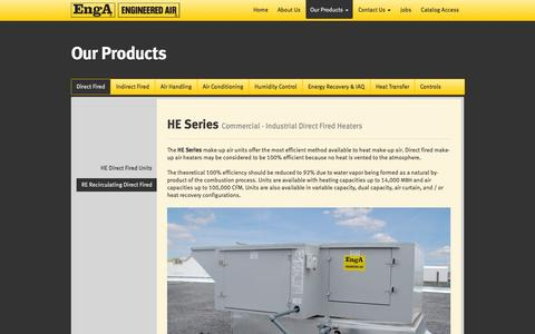 Screenshot of Products Page engineeredair.com - Engineered Air | One of North America's largest fully integrated manufacturers of made-to-order heating, ventilating, air conditioning, refrigeration and energy recovery equipment. - captured Sept. 30, 2014