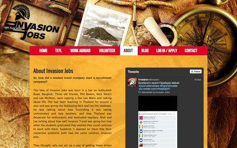 Screenshot of About Page invasionjobs.com - About - Invasion Jobs - captured Sept. 30, 2014
