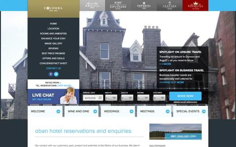 Screenshot of Contact Page columbahoteloban.co.uk - Oban Hotel reservations and enquiries | hotels in Oban | cheap Oban hotel rooms | Oban hotel deals - captured March 16, 2016