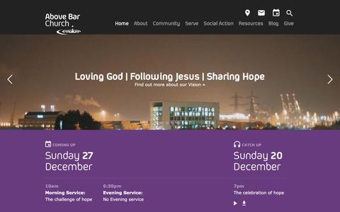 Screenshot of Home Page abovebarchurch.org.uk - Above Bar Church, Southampton - Loving God   Following Jesus   Sharing Hope - captured Dec. 23, 2015