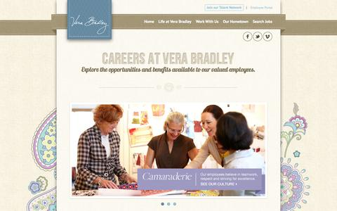 Screenshot of Jobs Page verabradley.com - Explore Vera Bradley Careers - captured Sept. 18, 2014