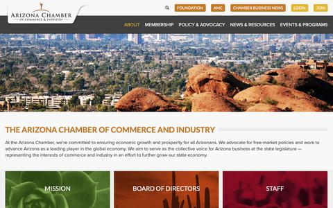 Screenshot of About Page azchamber.com - About - Arizona Chamber of Commerce and Industry - captured Oct. 4, 2018