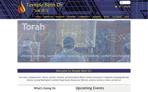 Screenshot of Home Page templebethor.org - Welcome to Temple Beth Or - Temple Beth Or - captured Sept. 20, 2018