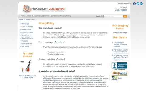 Screenshot of Privacy Page headsetadapter.com - Headset Adapter Co. Privacy Policy - captured Sept. 27, 2018