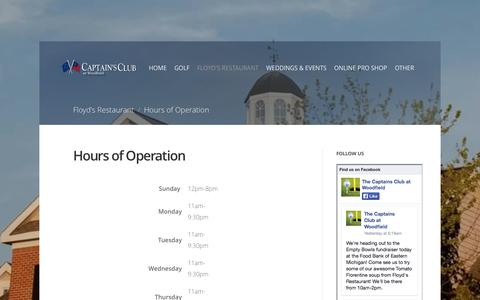 Screenshot of Hours Page captainsclubatwoodfield.com - Hours of Operation - captured Sept. 27, 2014