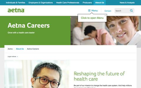 Screenshot of Jobs Page aetna.com - Aetna Careers – About Us | Aetna - captured Sept. 18, 2014