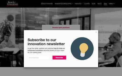 Screenshot of Jobs Page boardofinnovation.com - Jobs: Innovation Consultant / Service Designer / Lean Startup Coach - captured April 30, 2017