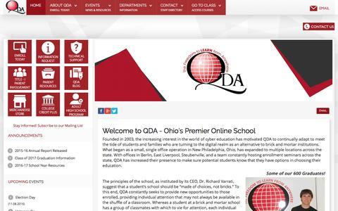 Screenshot of Home Page go2qda.org - QDA | An Ohio K-12 Online School - captured Nov. 7, 2016