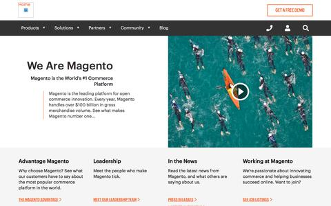 Screenshot of About Page magento.com - About | Magento - captured July 18, 2018