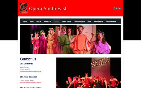 Screenshot of Contact Page operasoutheast.org.uk - Contact - Opera South East - captured Jan. 12, 2016