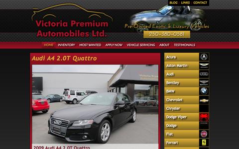 Screenshot of Home Page victoriapremiumauto.com - Premium Luxury Vehicles from - Victoria Premium Automobiles Ltd. - Quality Used Luxury & Sports Cars in Victoria, BC - captured Oct. 7, 2014