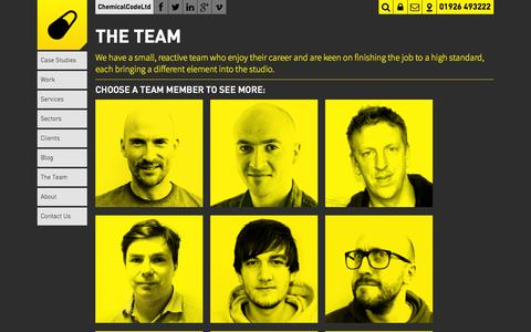 Screenshot of Team Page chemicalcode.com - Chemical Code « The Team – Chemical Code : Graphic Design Agency, Creative Company, Warwickshire Staffordshire, Oxfordshire, Leicestershire, West Midlands - captured Oct. 10, 2014