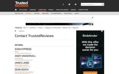 Screenshot of Contact Page trustedreviews.com - Contact us - captured Aug. 19, 2016