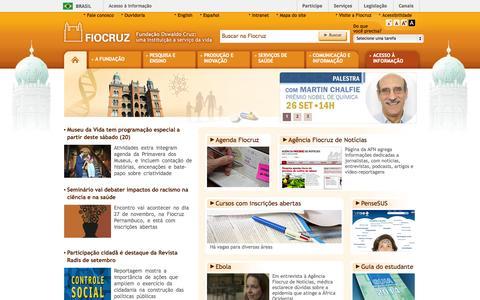 Screenshot of Home Page fiocruz.br captured Sept. 23, 2014
