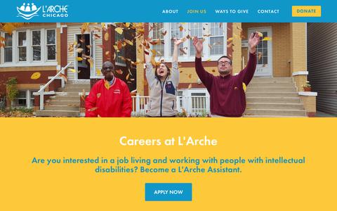 Screenshot of Jobs Page larchechicago.org - Careers at L'Arche — L'Arche Chicago - captured July 14, 2018