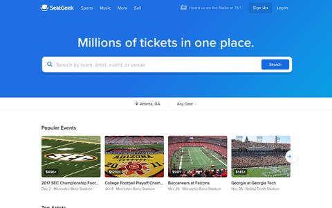 Screenshot of Home Page seatgeek.com - SeatGeek | Your Ticket to Sports, Concerts & More - captured Nov. 15, 2017