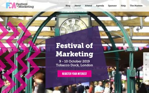 Screenshot of Home Page festivalofmarketing.com - Festival of Marketing 2018 - captured Oct. 18, 2018