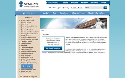 Screenshot of Locations Page stmarys.org - Locations Evansville, Indiana (IN) - St. Mary's Health System - captured Oct. 7, 2014