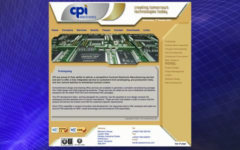 Screenshot of Services Page cpielectronics.com - CPI Electronics Ltd | Services | Prototyping - captured Oct. 1, 2014