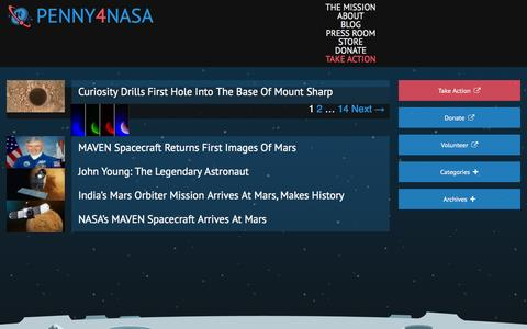 Screenshot of Blog penny4nasa.org - Blog | Penny4NASA | Penny4NASA is a nonprofit striving to increase NASA's funding to 1% by encouraging popular support for NASA through education and outreach. - captured Sept. 29, 2014
