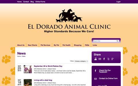 Screenshot of Press Page eacwecare.com - News   Veterinarians El Dorado Kansas   El Dorado Animal Clinic - captured Oct. 2, 2014
