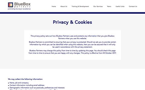 Screenshot of Privacy Page blueboxpartners.com - Privacy & Cookies | BlueBox Partners - captured Aug. 2, 2018